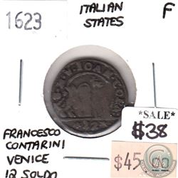 Italy 1623 Venice 12 Bagattini Soldo Francessco Contarini VG-F