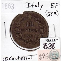 Italy 1863 10 Centesimi Extra Fine (EF-40) scratched
