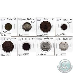 Estate Lot of 1862-1927 Italy Coinage Fine to AU. 8pcs