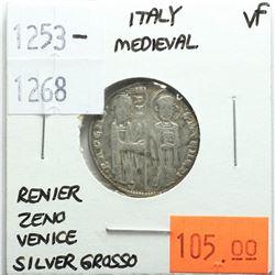 Italy Medieval 1253-1268 Silver Grosso, Reniero Zeno, Venice, VF