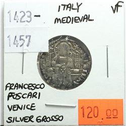 Italy Medieval 1423-1457 Silver Grosso, Francesco Foscari, Venice, VF