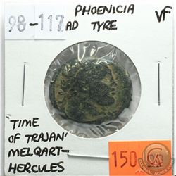 Phoenicia Tyre 98-117 AD, Melqart-Hercules, 'Time of Trajan', VF, Reverse - 'Club Upright, with Civi
