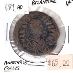 Byzantine 491 AD ANASTASIUS FOLLIS Roman Coin Very Fine