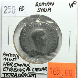 Rome Syria 250 AD Tetradrachm, Herennius Etruscus as Caesar, Antioch Mint, VF