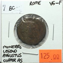 Rome 7 BC Copper As, Moneyer's Legend, Augustus, VG-F, Reverse - 'PLVRIVS AGRIPPA III VIR AAAFF. SC.