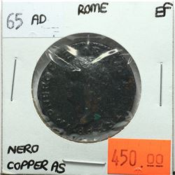 Rome 65 AD Copper As, Nero, Victory, SPQR, EF