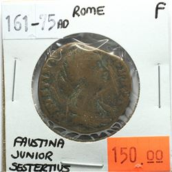 Rome 161-75 AD Sestertius, Faustina Junior, F, Reverse - 'Cybele Enthroned Between 2 Lions'