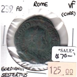 Rome 239CE Gordian III Sestertius in Very Fine (VF-20) Condition (corrosion)