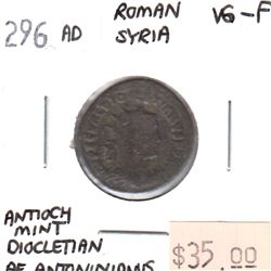 Roman Syria 296CE Antiocy Mint Diocletain Roman Coin VG-F