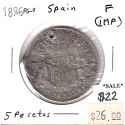 Spain 1896 PG-V 5 Pesetas Fine (impaired)