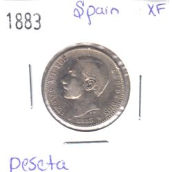 1883 Spain Peseta Extra Fine