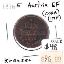 Austria 1816E Kreuzer in Extra Fine (EF-40) Condition (impaired)