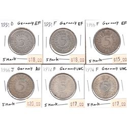 Germany 1951-1974 5-Marks in EF to UNC Condition. 6pcs