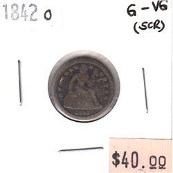 1842O USA Dime G-VG (hole)