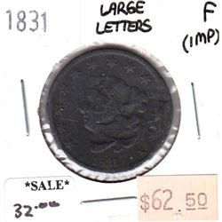 1831 Large Letters USA Cent Fine (F-12) impaired