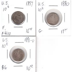 1857, 1890 & 1891O USA 10-cents Fine to AG (3 pcs)