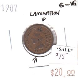 1907 USA Cent G-VG Lamination Error