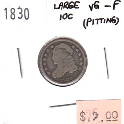 1830 Large 10c USA Dime VG-F (VG-10) pitting
