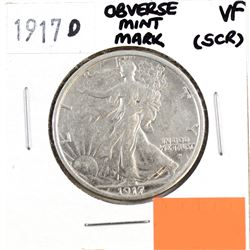 1917D USA 50-cents Obverse Mint Mark VF (small scratch)