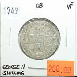 Great Britain 1747 Shilling, George II, VF