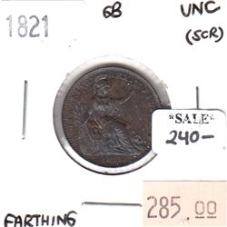 Great Britain 1821 Farthing Uncirculated (scratched)
