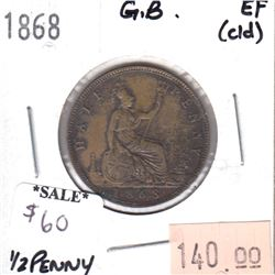 Great Britain 1868 Half Penny EF (Cleaned)