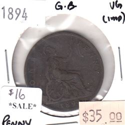 Great Britain 1894 Penny Very Good (VG-8) - Impaired