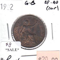 Great Britain 1902 Half Penny EF-AU (Corrosion)