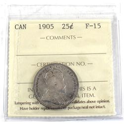 25-cent 1905 ICCS Certified F-15 Nice Mid-grade coin with light natural tones.