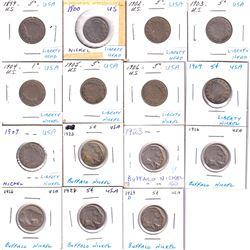 1899 to 1909 United States Buffalo & Liberty 5-cents. 15pcs