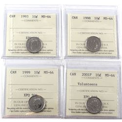 1993, 1998, 1999 & 2001P Volunteer  Canada 10-cents ICCS Certified MS-64. 4pcs
