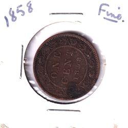 1858 Canada 1-cent Fine.