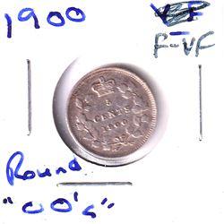 1900 Canada 5-cent Round 0's F-VF.