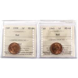1938 & 1940 Canada 1-cent ICCS Certified MS-64 Red. 2pcs