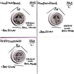 1942, 1943 & 1945 Newfoundland 5-cent UNC+. 3pcs