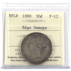 1880 Newfoundland 50-cent ICCS Certified F-12 (Edge Damage).
