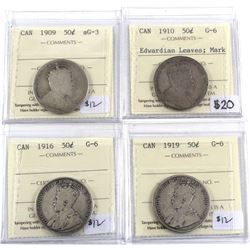 1909-1919 Canada 50-cent ICCS Certified - 1909 AG-3, 1910 Edwardian Leaves G-6 (Mark), 1916 G-6 & 19