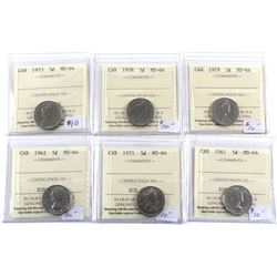 1961-1979 Canada 5-cent ICCS Certified MS-64. 6pcs