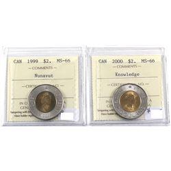 1999 Nunavut & 2000 Knowledge $2 ICCS Certified MS-66. 2pcs