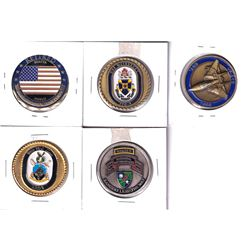 Estate Lot of USA Coloured Military Medallions. 5pcs