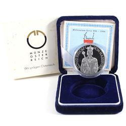 1991 Austria 996-1996 Rudolf I Von Habsburg 100 Schilling .900 Silver Coin (capsule lightly scratche