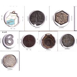 Estate Lot of Miscellaneous Tokens of Different Shapes and Sizes. 8pcs
