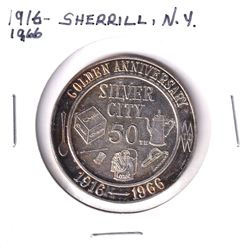 1916-1966 Sherrill, New York Silver City 50th Golden Anniversary Silver Plated Medallion. 36mm diame