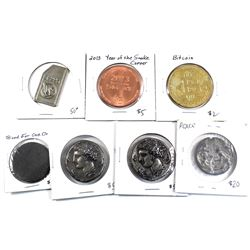 Estate Lot of Miscellaneous Medallions and Tokens of Different Designs Except a Duplicate of a Repli