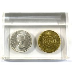 1864-1964 Canada Trust Huron & Erie 100th Anniversary 2-coin Set in Acrylic Slab Featuring a 1964 Si