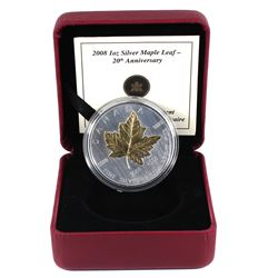 2008 Canada $5 20th Anniversary of the Silver Maple Leaf 1oz Gold Plated Fine Silver Coin (missing o