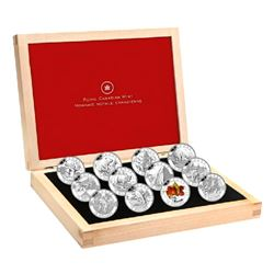 2013 O Canada $10 12-Coin Fine Silver Set in Deluxe Box (RCMP coin is toned, a few capsules are ligh