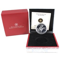 2013 Canada $15 Zodiac Year of the Snake Fine Silver Coin (scratched capsule). TAX Exempt