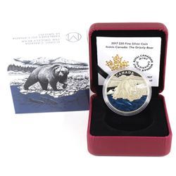 2017 $20 Iconic Canada - The Grizzly Bear Fine Silver Coin (capsule lightly scratched & coin toned).