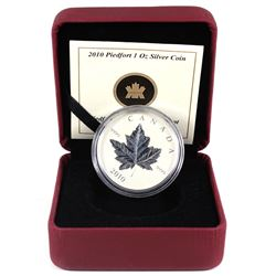 2010 Canada $5 Piedfort Fine Silver Maple Leaf (coin has light toning spots & outer sleeve is missin